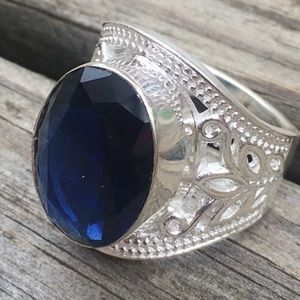 Other - Blue Sapphire Gems Sterling Silver Men Gift Ring